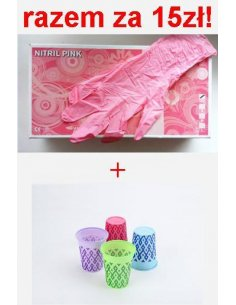 Rękawice Akzenta nitrylowe XS + 50szt kubków akzenta z nadrugkiem